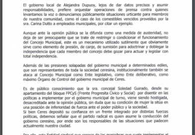 El Sitram salió en apoyo a la Concejal Guirado